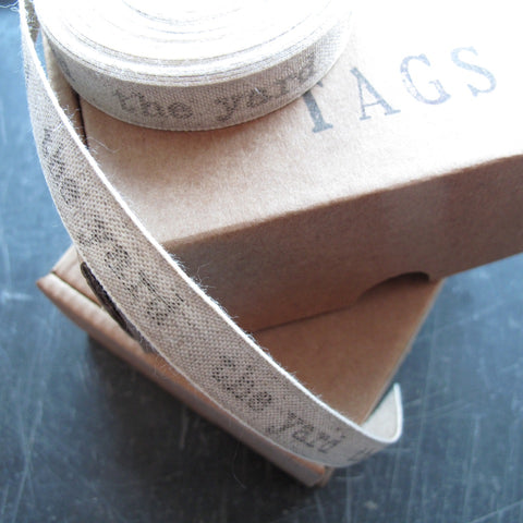 Personalised linen ribbon with typewriter and market deco font