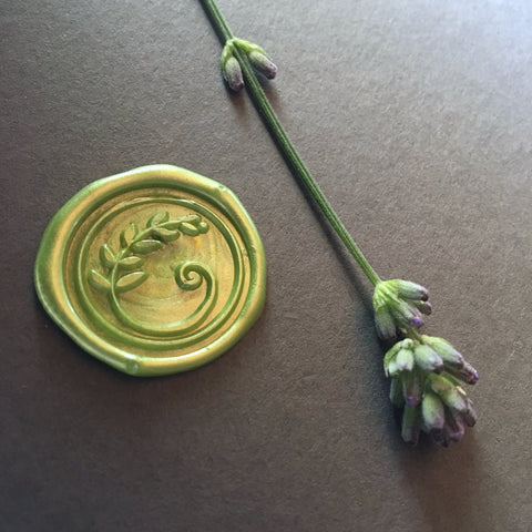 Brass wax seal stamp with leaf design