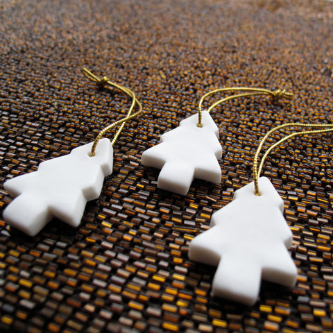 White Tree decoration, Hand made from porcelain