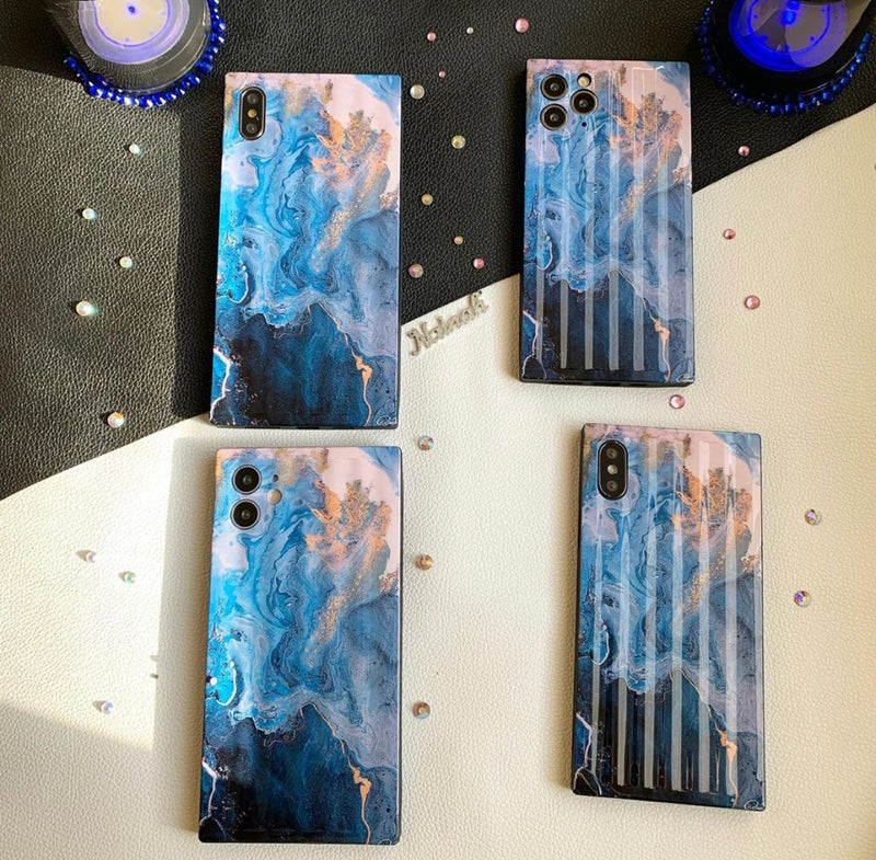Art Marble Blue/Nude iphone Case