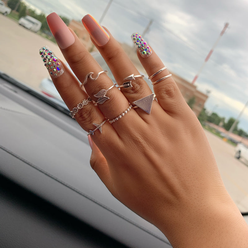 9pc  Silver Stainless Steel  knuckle Rings