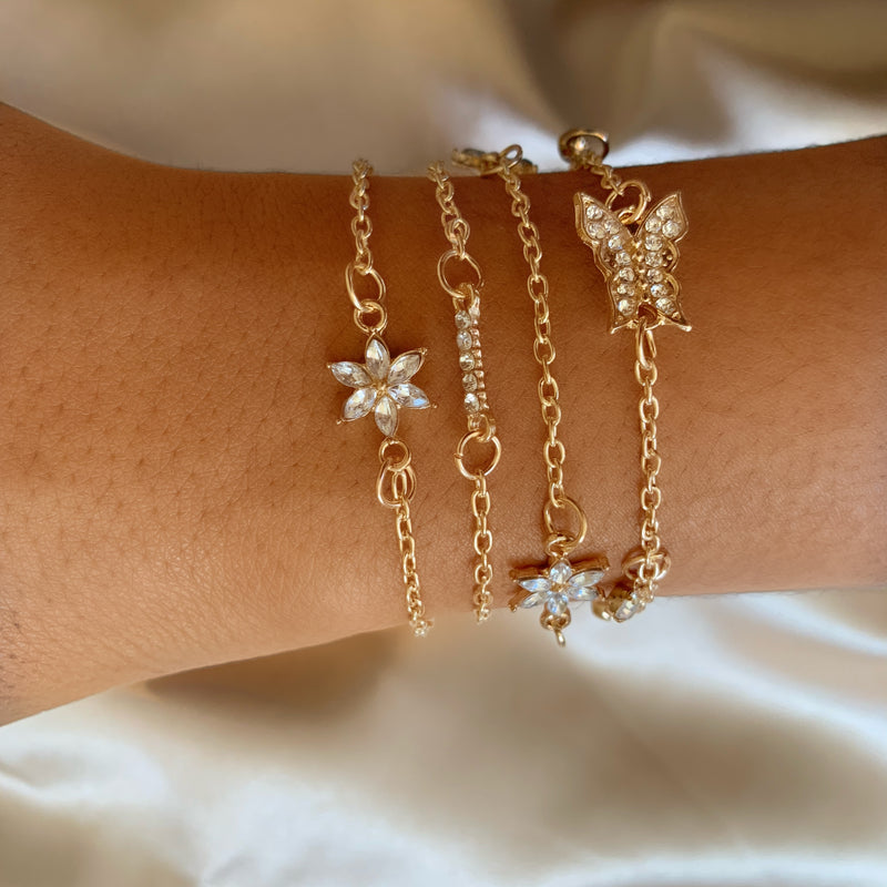 4pc gold crystal Bracelet Set