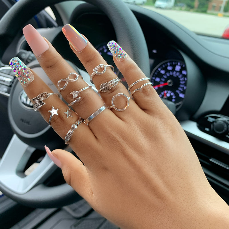 11pc Stainless Steel Knuckle Ring Sets