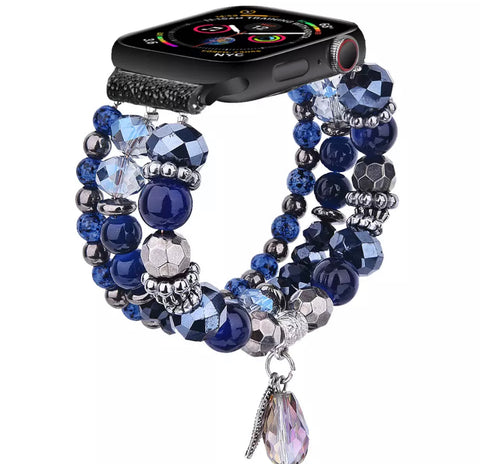 Diamond blue Pearls watch band for iwatch strap