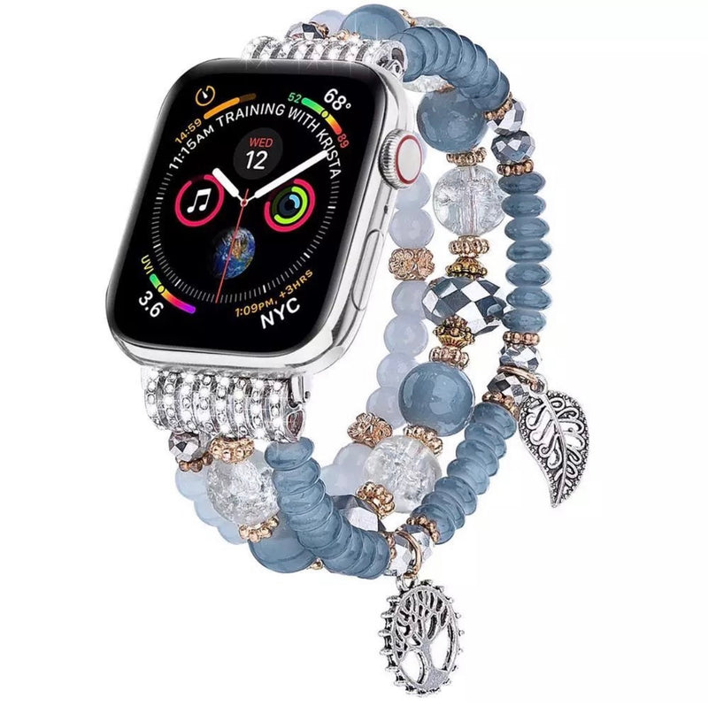 Leaf Blue Pearl Watch Band For iwatch Strap