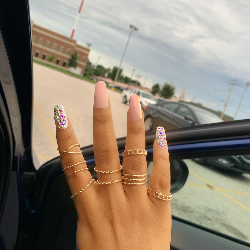 8pc gold knuckle ring set