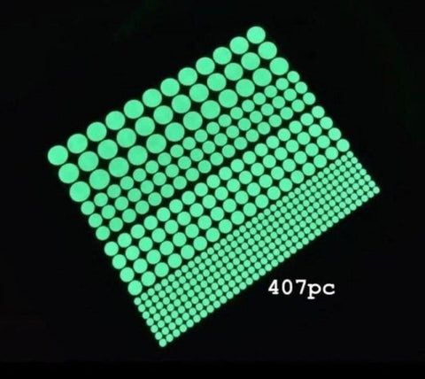 Glow in the Dark Round Dot Sticker 407pcs