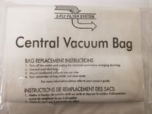 Load image into Gallery viewer, Three Pack Central Vacuum Bags