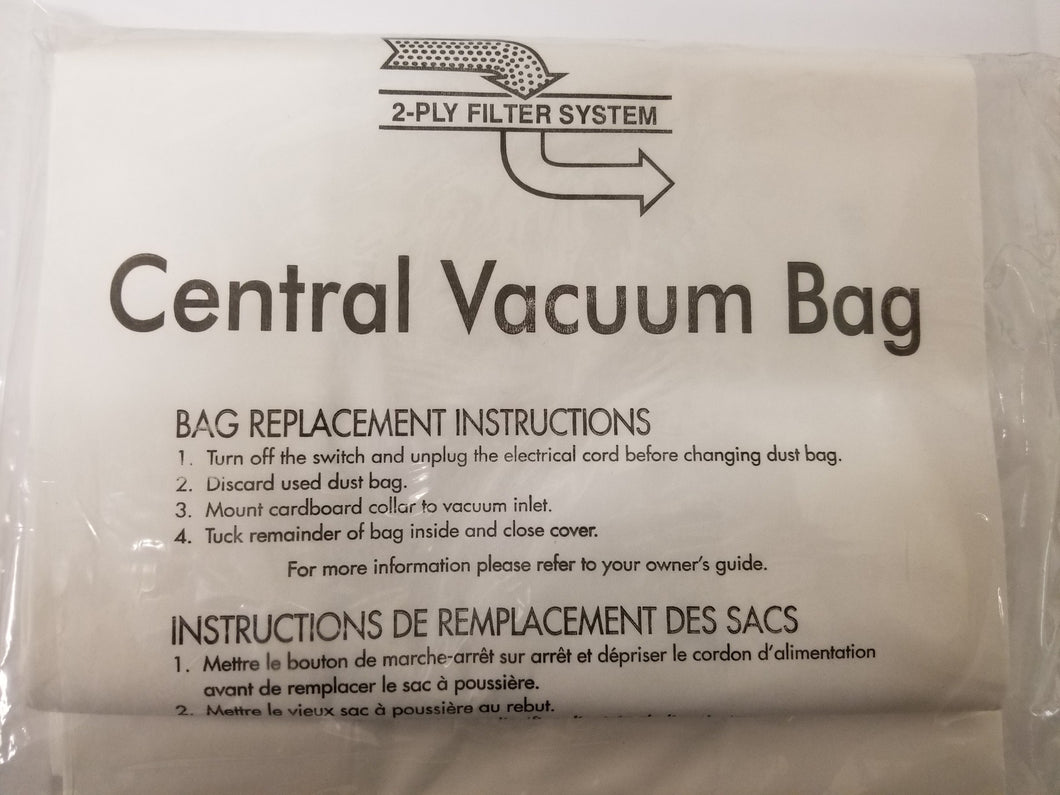 Three Pack Central Vacuum Bags