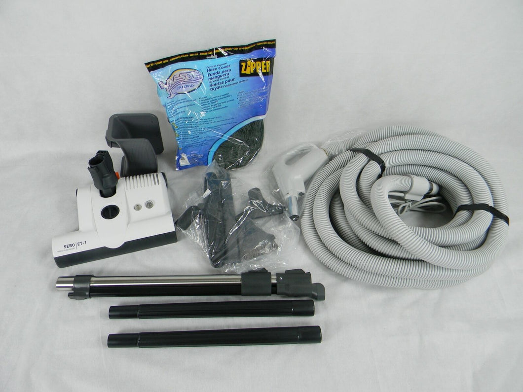 Central Vacuum 30 Foot Hose Accessory Kit Featuring Sebo ET-1 Carpet Power Head