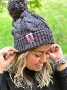 Cocoa Pom Beanies- Grey with Pink Pineapple Patch