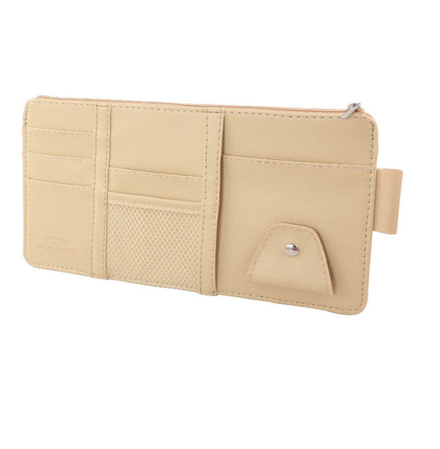Car Sun Visor Card Holder Zipper Leather Car Bill Holder