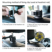 Car Headrest Dashboard USB Cooling Fan With 3 Speed