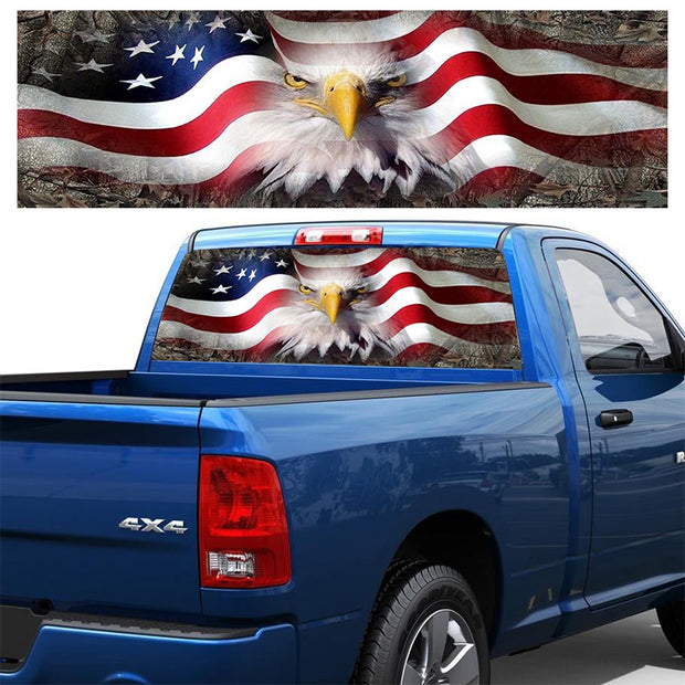 USA Flag and Eagle Rear Windshield Sticker For Truck/SUV/Jeep 53.2*14.2in