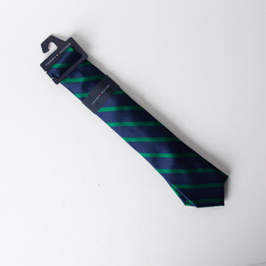 Tommy Hilfiger-Navy Blue With Green Stripes Tie