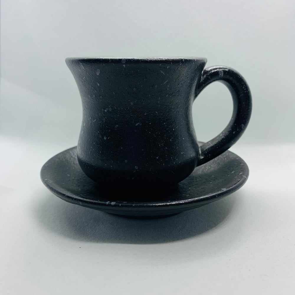 Cattleya-Blossom Black Coffee Cup With Underline Plate
