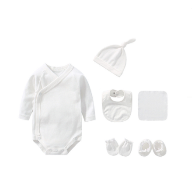Baby Bodysuit Long Sleeve Set - White