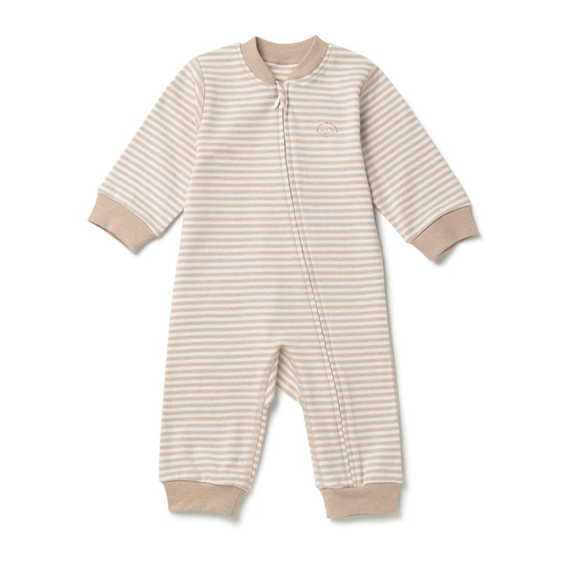 Baby Boy Curved Zipper Pajama Striped