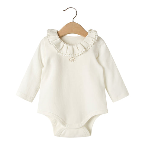 Organic cotton ruffled collar baby bodysuit
