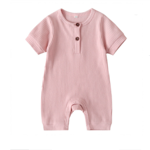 Pink Wear Rib Cotton Baby Romper Clothes