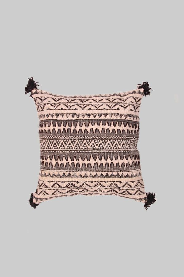 ZAGS - THROW CUSHION COVER -BLACK - LARGE