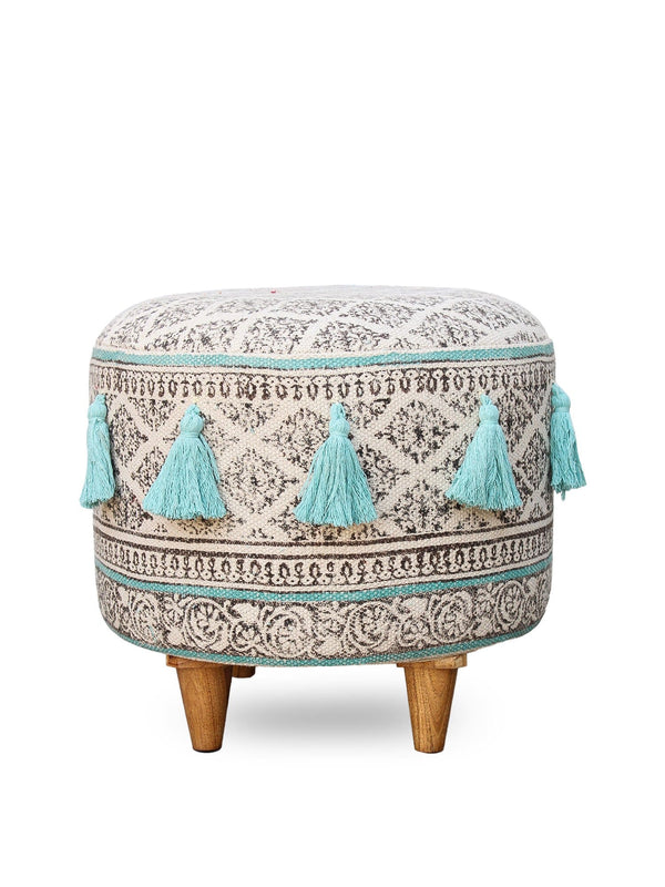 ABILITY - CYLINDRICAL OTTOMAN-AQUA - ART AVENUE