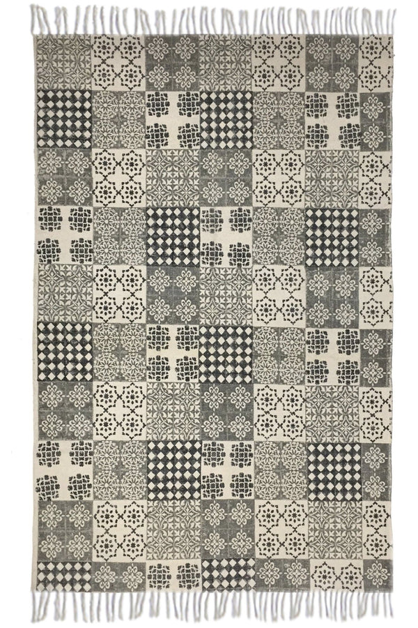 AJANTA -BLOCK PRINTED RUG - BLACK - ART AVENUE