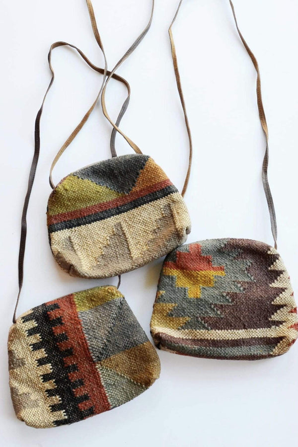 ALPHA - KILIM and LEATHER SLING BAG - ART AVENUE