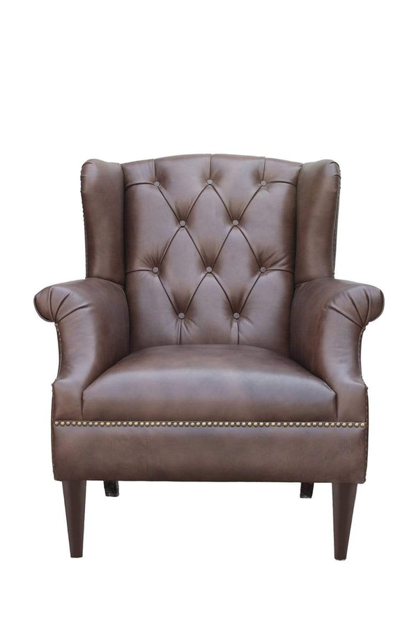 ALTIS LEATHER WING BACK ARM CHAIR - 5 Colors - ART AVENUE