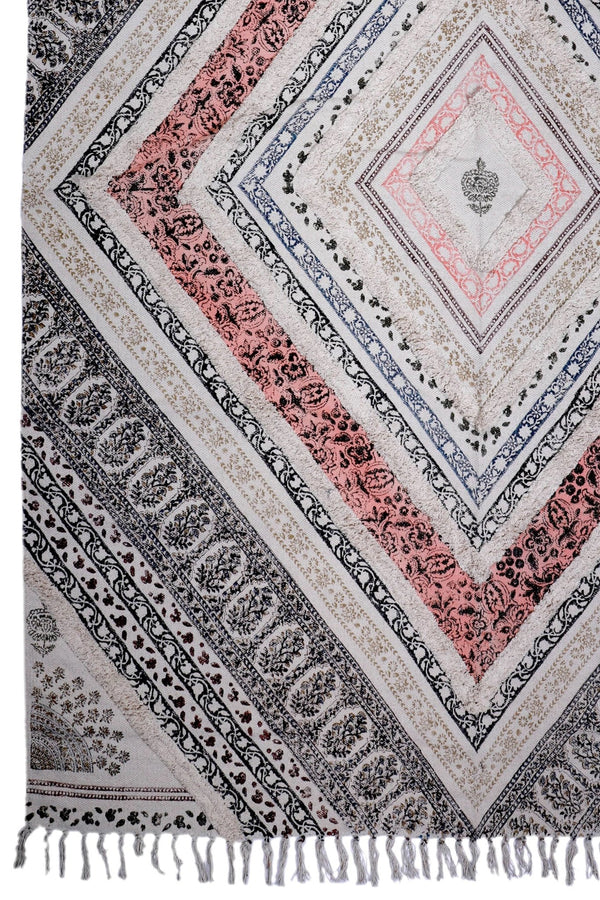 ALWAR -BLOCK PRINTED RUG - BLACK - ART AVENUE
