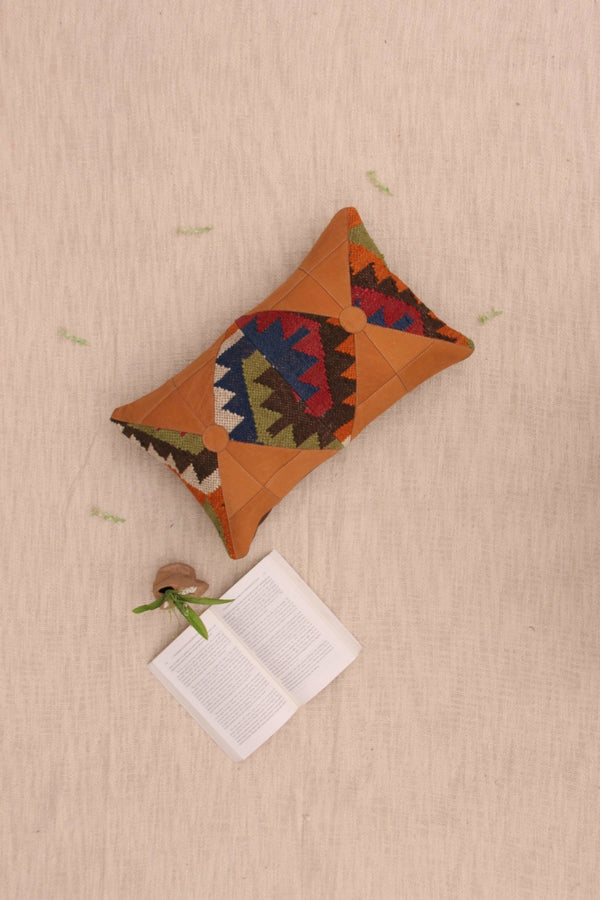 AMBER - LUMBAR CUSHION COVER -BROWN - ART AVENUE