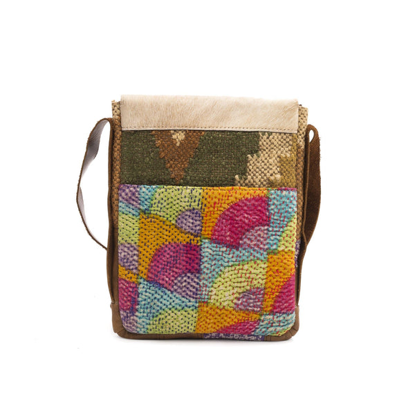 AMBRIO - KILIM & LEATHER PATCHWORK SLING BAG - ART AVENUE