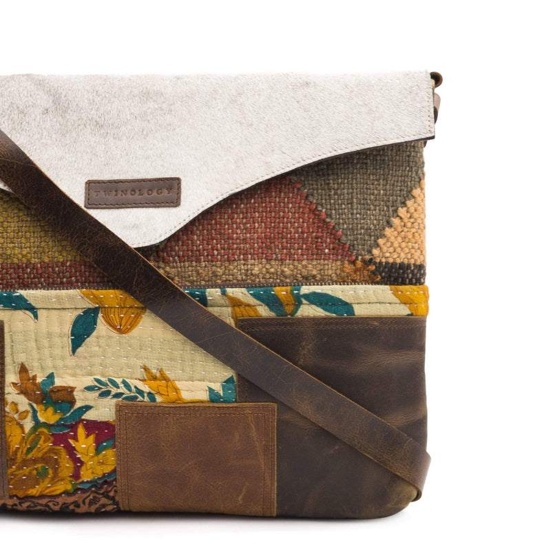 ARTSY - KILIM & LEATHER PATCHWORK SLING BAG - ART AVENUE