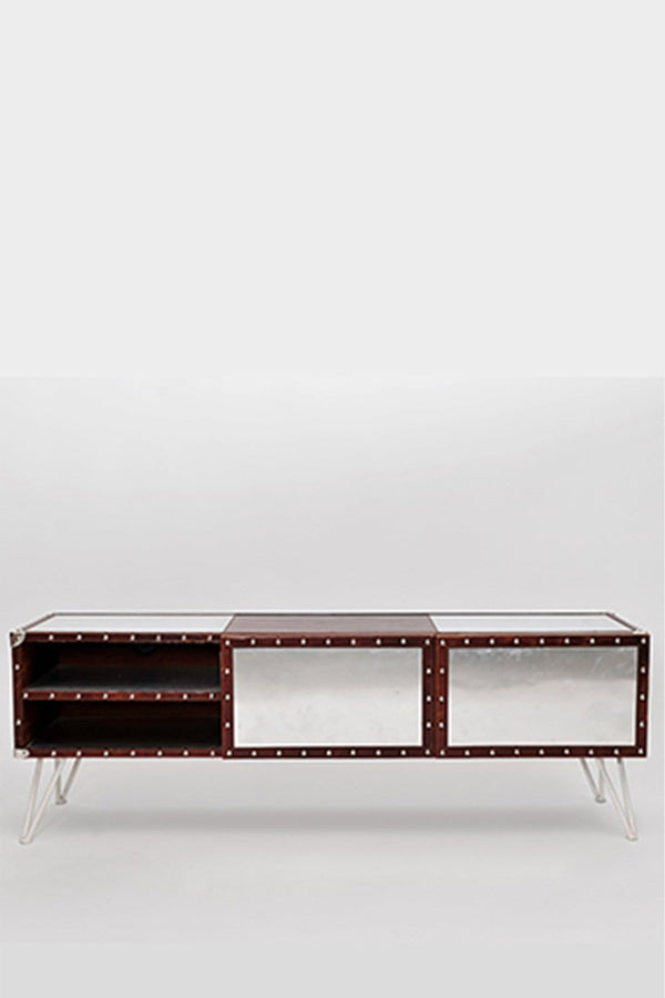 AUSTIN TV UNIT - ALUMINIUM AND LEATHER - ART AVENUE