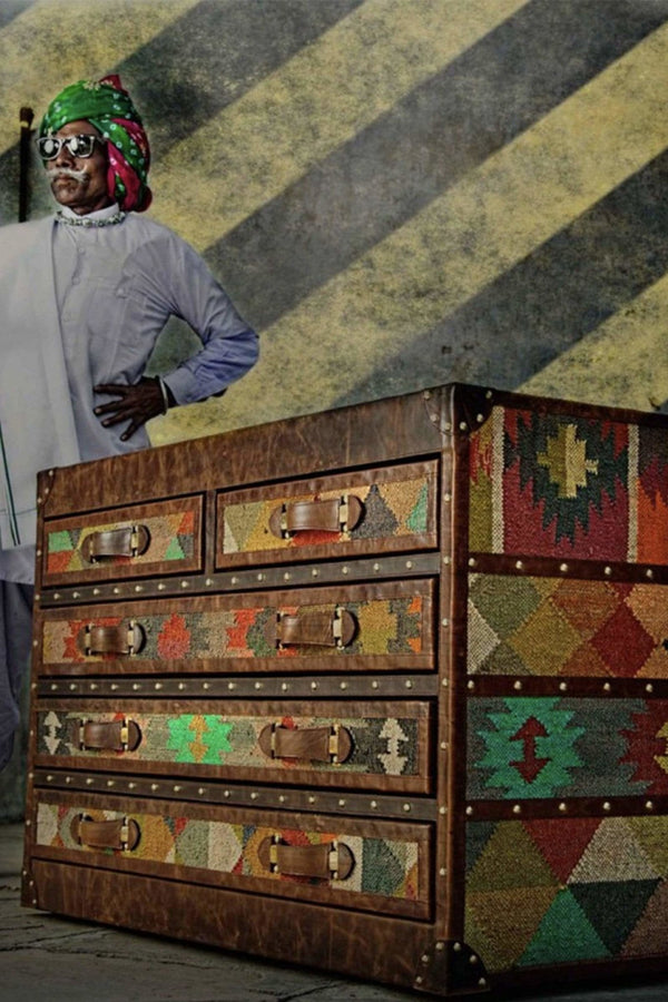 AXIS CHEST OF DRAWERS - KILIM AND LEATHER - ART AVENUE