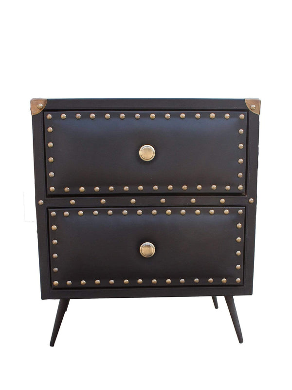 BALTIMORE - TWO DRAWER LEATHER SIDE TABLE - BLACK - ART AVENUE