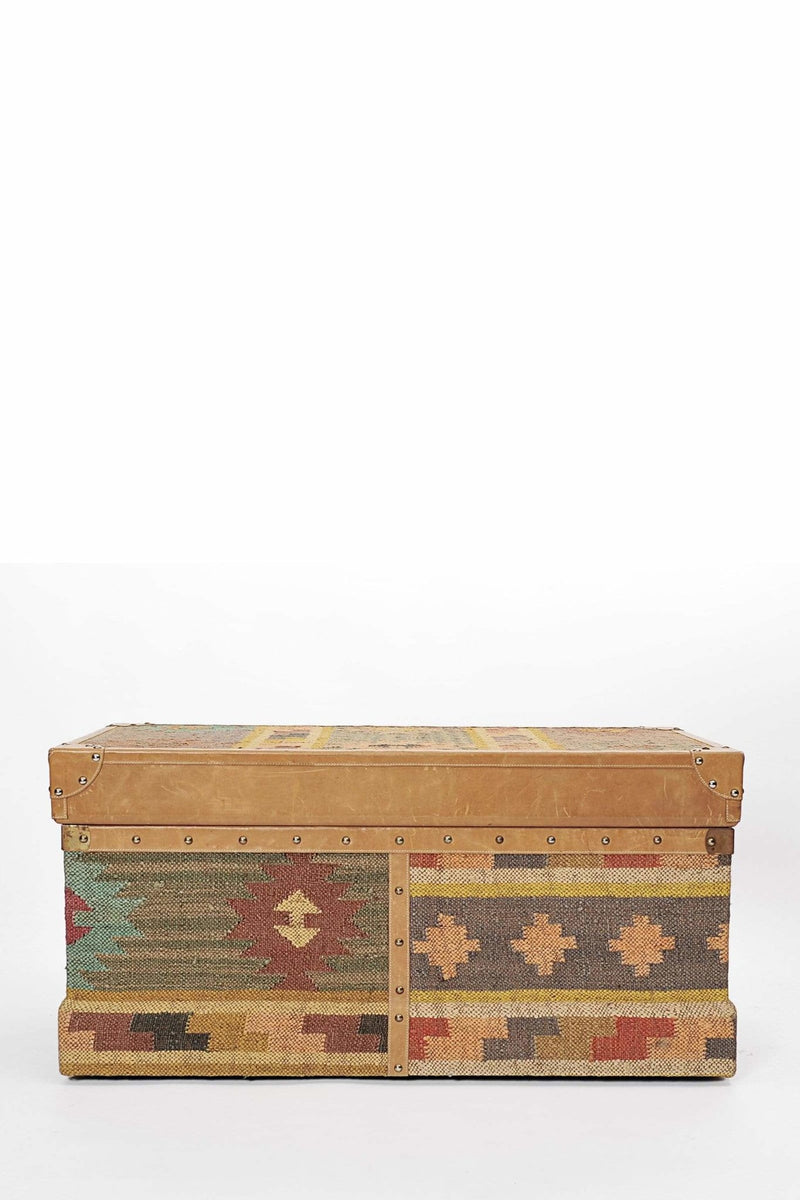 BIKANER TRUNK - KILIM AND LEATHER - ART AVENUE