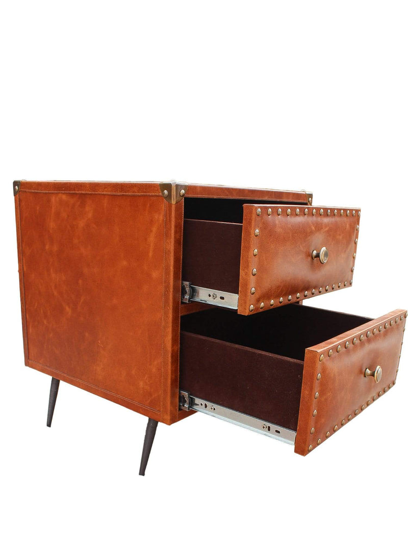 BIRMINGHAM - TWO DRAWER LEATHER SIDE TABLE - BROWN - ART AVENUE