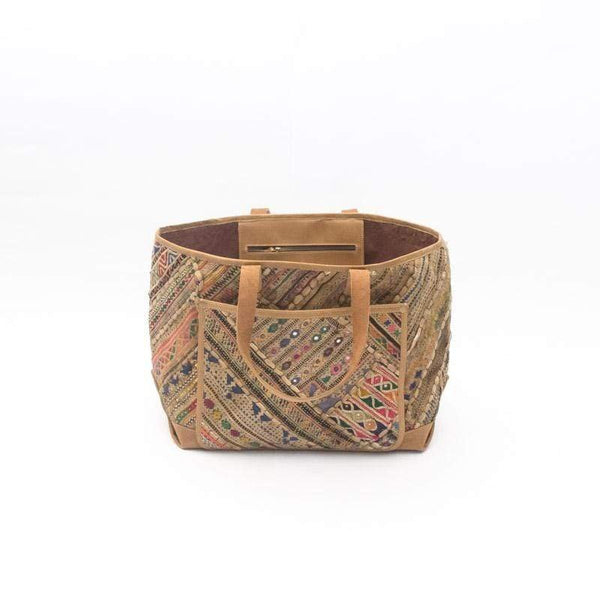 BRASS- VINTAGE FABRIC PATCHWORK HAND BAG - ART AVENUE