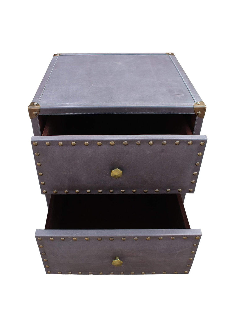 BROOKLYN - TWO DRAWER LEATHER SIDE TABLE - GREY - ART AVENUE