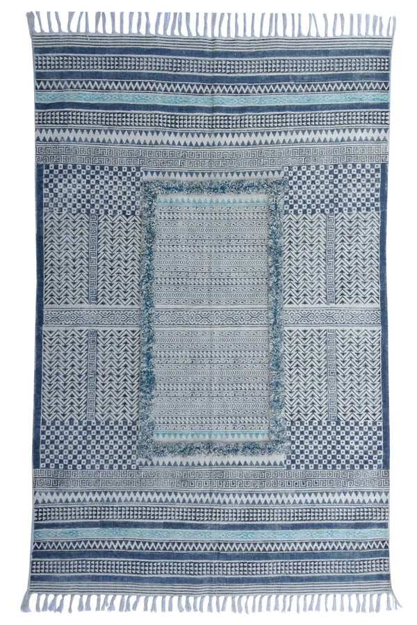 CALMA -BLOCK PRINTED RUG - BLUE - ART AVENUE