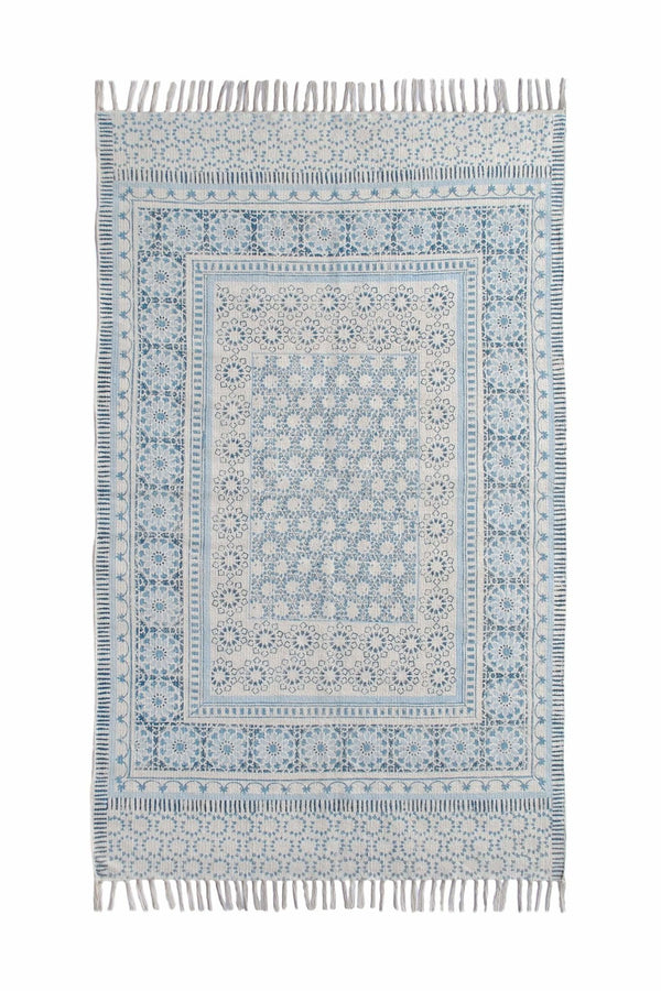 CHANDLER - BLOCK PRINTED RUG - BLUE - ART AVENUE