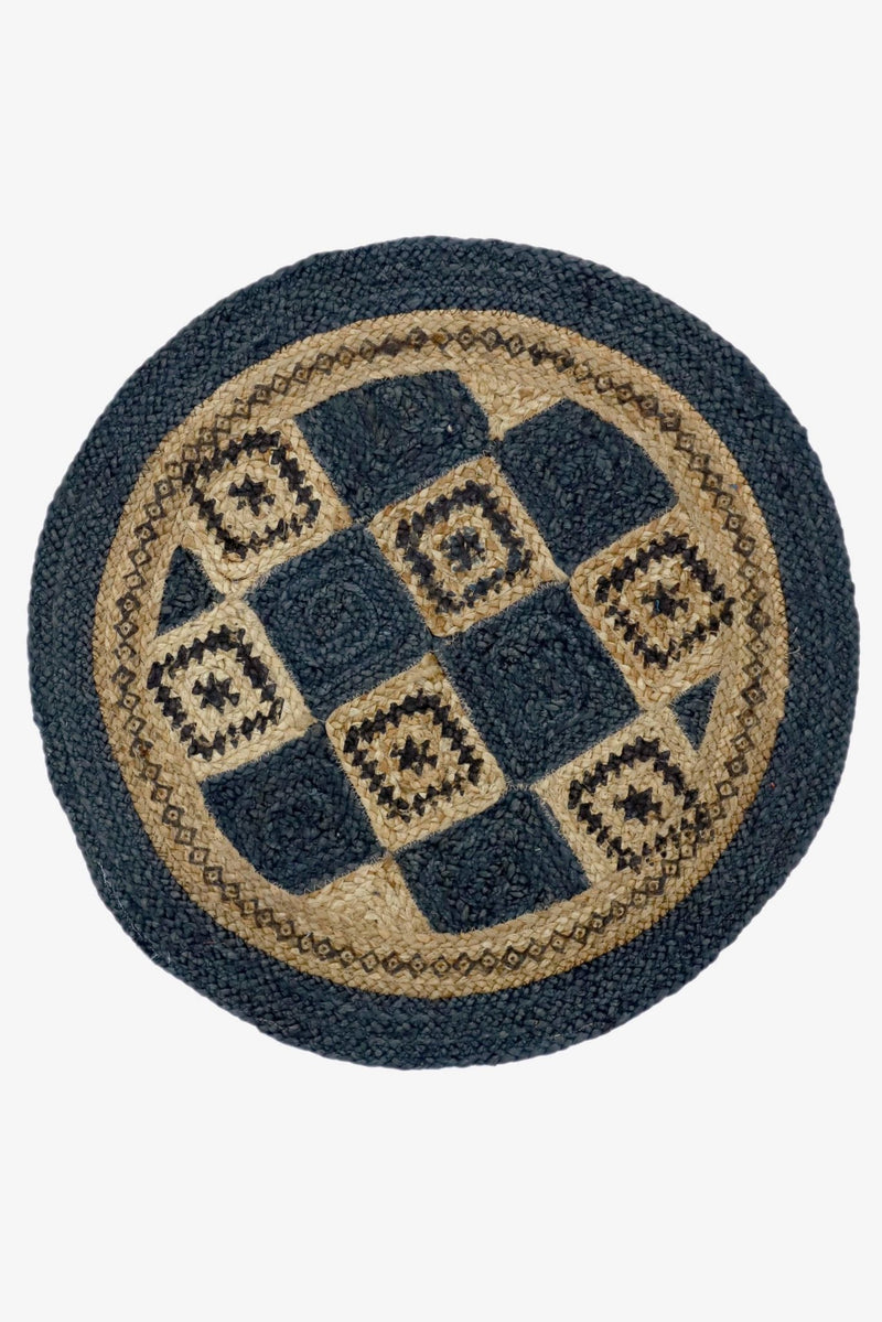CHECKERED -ROUND RUG -INDIGO - ART AVENUE