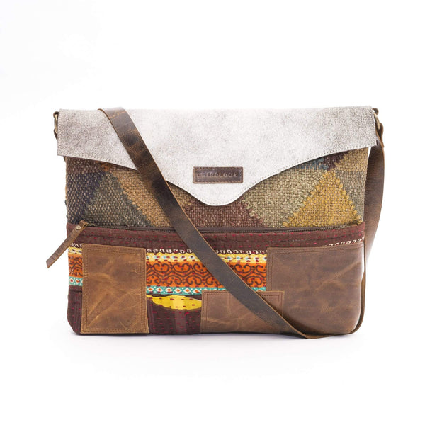 CORNY - KILIM & LEATHER PATCHWORK SLING BAG - ART AVENUE