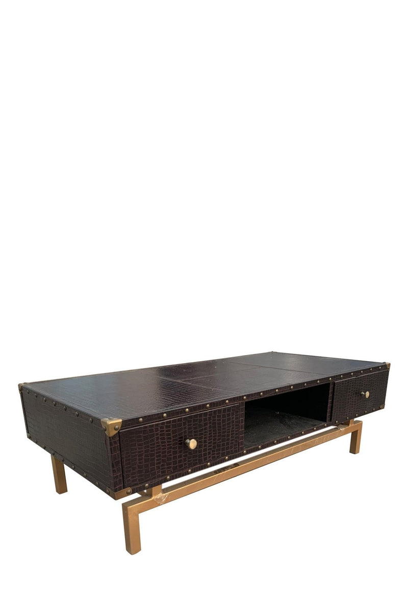 CROCO COFFEE TABLE IN LEATHER WITH METAL STAND - ART AVENUE