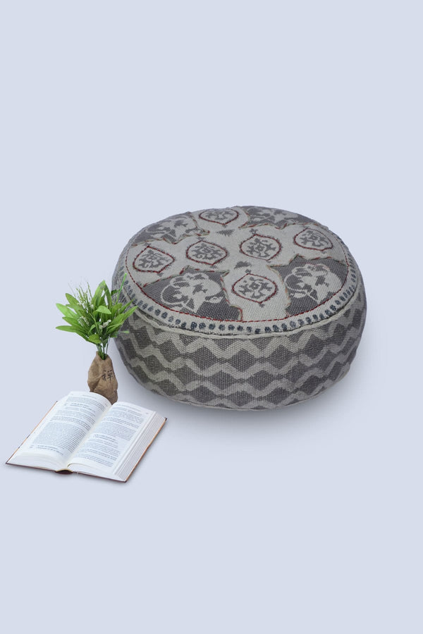 DAPE - CYLINDRICAL POUF-GREY - ART AVENUE
