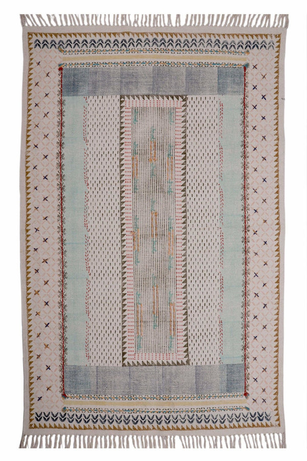 DARIBA- BLOCK PRINTED RUG - MULTICOLOUR - ART AVENUE
