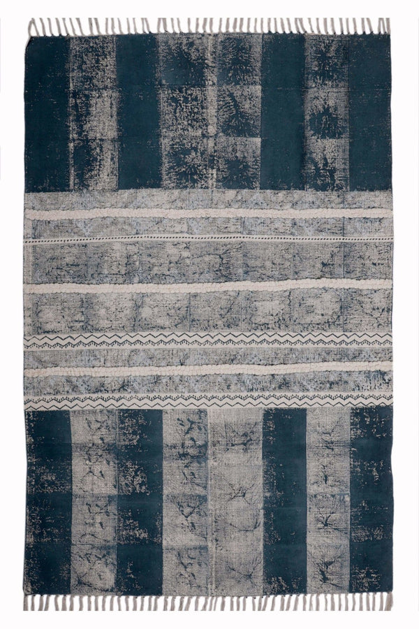 DAUSA - BLOCK PRINTED RUG - BLUE - ART AVENUE