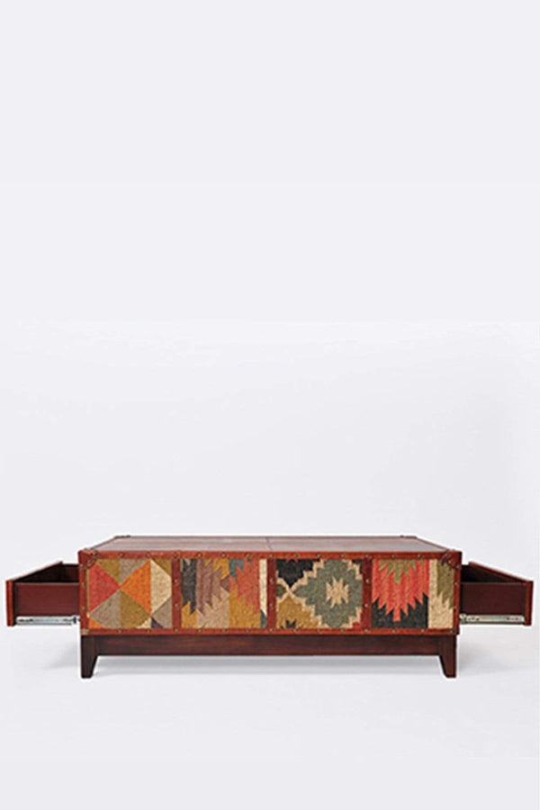 DELHI COFFEE TABLE - KILIM AND LEATHER - ART AVENUE