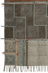 DEOLI - BLOCK PRINTED RUG - DARK BROWN - ART AVENUE